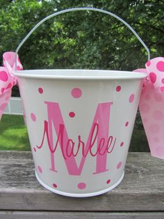 Personalized Gift pail - Easter bucket- 10 quart size. Many styles and colors available