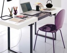 Very cool desk whose sleek white surface slides apart to reveal a perforated steel platform on which to place your laptop (made in Europe of course! Zen Office, Office Desk, Working Area, Decoration, Palm, Laptop, Platform, Surface, Europe