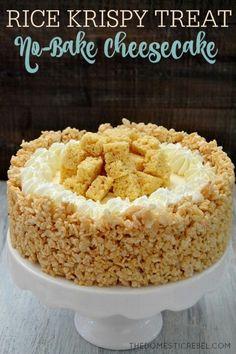 Rice crispy no-bake cheesecake