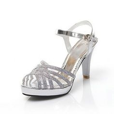 Faux Leather Women's Stiletto Heel Peep Toe Sandals with Rhinestone Shoes(More Colors) - USD $ 39.99