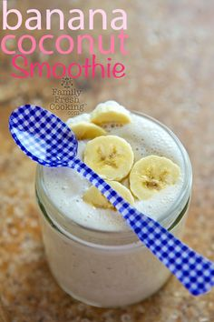 Banana Coconut Smoothie | FamilyFreshCooking.com @Marla Landreth Meridith