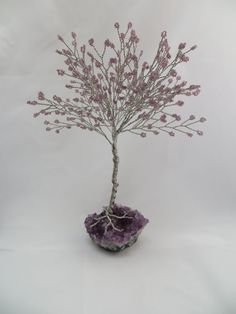 Amethyst Tree of Life, Purple Seed Bead Tree of Life, Silver Wire Wrapped Tree, Amethyst Wire Tree Sculpture, Tree Wedding Centerpiece on Etsy, $60.00