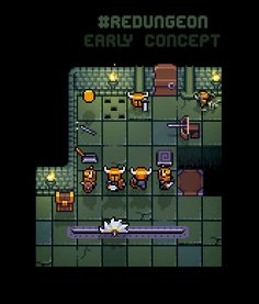 Pixel art dungeon, early concept art of #Redungeon game. @eneminds