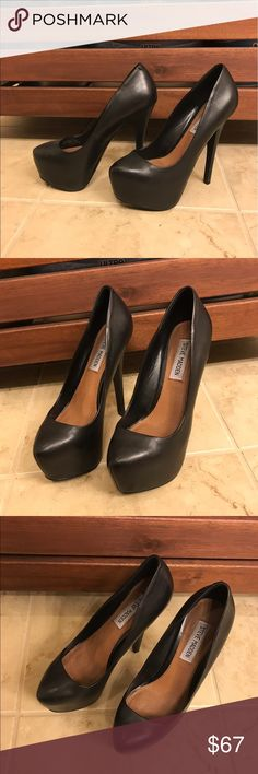 "Steve Madden black leather pumps New. Worn once outside and walked around my patio and then came back inside. NO FLAWS. does not come with original box. Size 6.5. 5-6"" heel with 2"" platform. REAL LEATHER. Steve Madden Shoes Platforms"