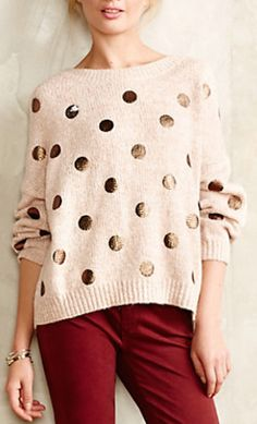 love this gold polka dot sweater #anthrofave http://rstyle.me/n/s5hq9r9te