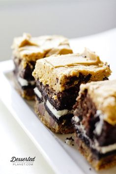 4 Layer Brownie Bars - save time by you making both the cookie dough and the frosting ahead of time and just keep it refrigerated until ready to use!