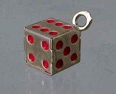 Vintage German 800 Silver Enamel LUCKY DICE Charm