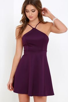LuLu*s Exclusive! For cocktails or candlelit kisses, the Steal the Spotlight Purple Skater Dress never fails to stun! Structured, stretch knit fabric shapes a seamed bodice supported by a modified halter neckline, while the open back creates a minimalist look. Flirty skater skirt falls from the fitted waist completing this party-perfect dress! Hidden back zipper.