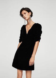 Robe velours froncée | MANGO
