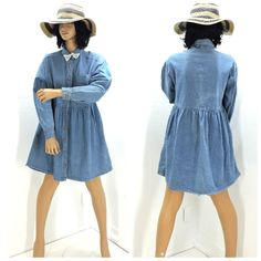 Vintage denim prairie dress size M, 80s long sleeve jean dress, boho cottage chic loose fit mini jean shirt dress, SunnyBohoVintage by SunnyBohoVintage on Etsy