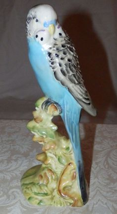 RARE Vintage BLUE Ceramic BESWICK BUDGIE BUDGERIGAR BIRD #1216 Facing Left OLD