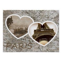 sold 1 Paris Heart Photo Collage + Paris map poster