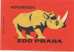 Animal illustrations from the Prague Zoo Matchbox Retro Design, Design Art, Graphic Design, Wild Rhino, Prague Zoo, Rhino Art, Matchbox Art, Rhinoceros, African Design