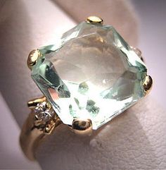 Vintage Aquamarine Diamond Ring Estate Art Deco Wedding