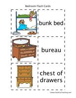 Bedroom Flash Cards Bedroom Flash Cards Word List: Bunk Bed, Bureau, Chest of Drawers, Mattress, Bla Have Fun Teaching, Teaching Tips, Vocabulary Flash Cards, Toy Shelves, Wish Gifts, Reading Comprehension Worksheets, Computer Bags, Matching Games, Toy Boxes