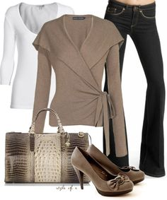 """""""Neutral Wrap Sweater"""" by styleofe ❤ liked on Polyvore"""