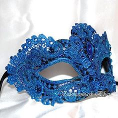Victorian Party Masks | blue lace mask, masquerade mask,blue venetian mask,victorian mask, $72