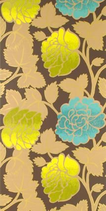 Love this wallpaper with gold, yellow and turq