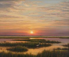 """Marsh Sunset"" by Henry Von Genk, III. Palm Avenue Fine Art, 10 South Palm Avenue, Sarasota, FL 34236. Contact Crystal at 941-388-7526 or e-mail info@palmavefineart.com."