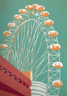 The London Eye linocut by Jenny Ing.I LOVE the London Eye. Eye Illustration, London Illustration, Linocut Prints, Art Prints, Block Prints, Eyes Wallpaper, London Eye, London Wall, Linoprint