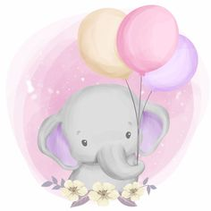 Cute baby elephant playing balloon PNG and Vector Elephant Background, Balloon Background, Baby Shower Background, Happy Balloons, Happy Birthday Balloons, Baby Animal Drawings, Cute Drawings, So Cute Baby, Cute Babies