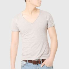 Luxury Cotton Deep V Neck T-Shirt //Price: $13.52 & FREE Shipping //     #shop