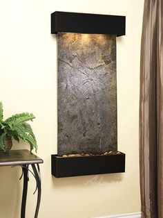 This series of wall mounted water features is aptly named the Cascade Springs wall fountain. Built to last we offer our clients the opportunity to create a living wealth of energy and beauty in any indoor environment. Modern Fountain, Indoor Fountain, Indoor Water Features, Window Casing, Water Walls, Green Copper, Wall Lights, Slate, Pentagon