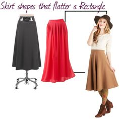 """""""Skirt shapes for Rectangle"""" by jenni-burks on Polyvore"""