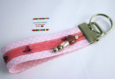 keychain with hearts, silver and beads