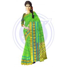 2f8c2c9f136025 Body Parrot Green with Light Brown Color Flower Design all over Saree  Traditional Silk Saree