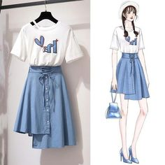 T-shirt skirt set Kpop Fashion Outfits, 80s Fashion, Cute Fashion, Korean Fashion, Boho Fashion, Girl Fashion, Vintage Fashion, Swag Fashion, Fashion Online