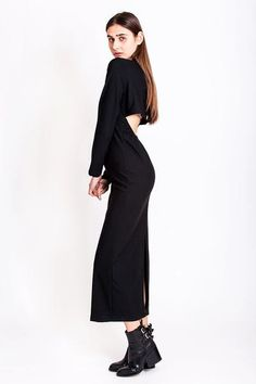 Long black sexy back dress Sales Now, Have Metal, Metal Buttons, Dress Backs, Vintage Outfits, Normcore, High Neck Dress, Club, Summer Dresses
