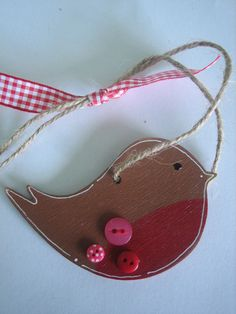 Hand Painted Wooden Robin Christmas Tree Decorations £4.00