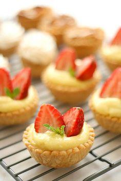 Almond Strawberry, Lemon Meringue and Almond Tartelettes