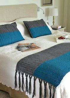 This Pin was discovered by هنا Designer Bed Sheets, Crochet Bedspread, Square Blanket, Bed Runner, Sewing Art, Diy Bed, Cushions, Pillows, Knitted Blankets