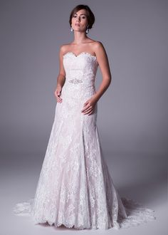 Viola Chan wedding dress, Two-tone lace wedding gown with beaded belt detail by Viola Chan.