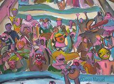 Pueblada de diciembre de 2001. Cuadro en venta de la Serie Historia Argentina del artista plastico Diego Manuel