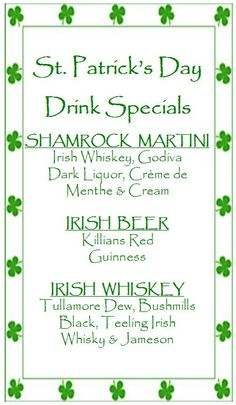 Happy St. Patrick's Day!! Come in for our great Drink Specials to celebrate; along with our Create Your Own Pasta Special at lunch today, 11am-2:30pm!