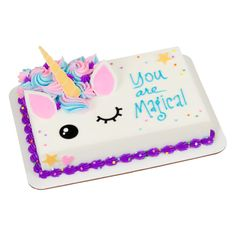 Transform your cake to an adorable unicorn. Fun and festive fondant shapes speeds up production and adds a beautifully detailed touch to your cake creations. Simply remove from the backing sheets and apply to the cake. 17 Birthday Cake, Birthday Sheet Cakes, 17th Birthday, Unicorn Birthday Parties, Unicorn Party, Rainbow Unicorn, Birthday Ideas, Pastel Rectangular, Pecan Cake