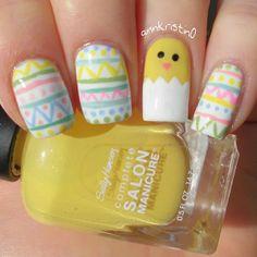 annkristin0 easter #nail #nails #nailart , I need yellow nail polish. So cute!