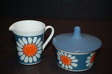 Figgjo Flint Turi Design 'Daisy' Small Creamer/Milk Jug and Sugar Bowl With Lid