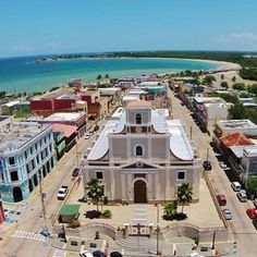 Plaza and cathedral of Arecibo, Puerto Rico by the sea.