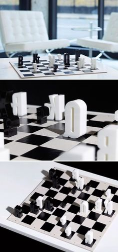 Chess game using typography - hat trick design