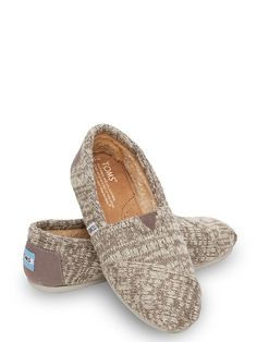 New TOMS Classics! Shearling lining and fashioned in soft grey knit.