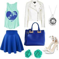 blu, wather green & white
