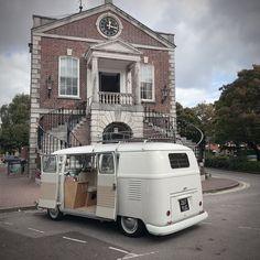 Peggy, the 1959 Splitscreen Camper Van waiting outside the Guildhall, Poole. Little bit of a trek this one but was totally worth it. Wedding Hire, Vintage Weddings, East Sussex, Vw Camper, Surrey, Recreational Vehicles, Trek, Waiting, Camper Van
