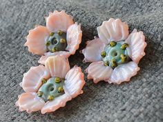 Lampwork Glass Beads Poppy  Handmade Beads by JewelryBeadsByKatie
