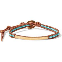 Chan Luu Gold-plated, turquoise and leather bracelet ($81) ❤ liked on Polyvore featuring jewelry, bracelets, brown, gold plated jewellery, turquoise jewellery, chan luu, turquoise jewelry and gold plated jewelry