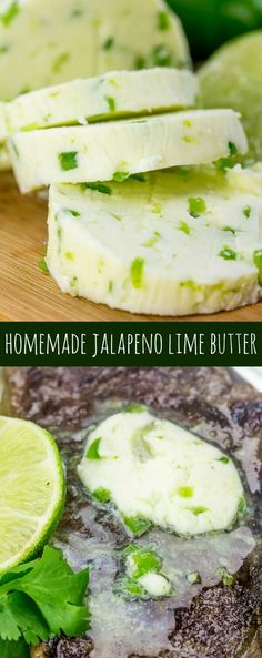 An easy, spreadable, adaptable recipe this Homemade Jalapeno Lime Butter whips up in minutes and compliments everything. Have you ever made your own butter before? Seriously don't hold back. It may s (Homemade Lemon Butter) Whipped Butter, Flavored Butter, Homemade Butter, Mexican Food Recipes, Real Food Recipes, Cooking Recipes, Yummy Food, Dips, Sweet Butter