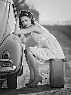 VW - Beetle Girl # black and white # beauty... XBrosApparel Vintage Motor T-shirts, VW Beetle & Bus T-shirts, Great price